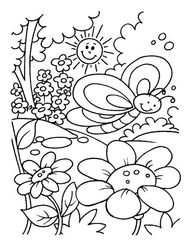 Раскраска бабочка радуется цветам. Скачать Весна.  Распечатать Весна