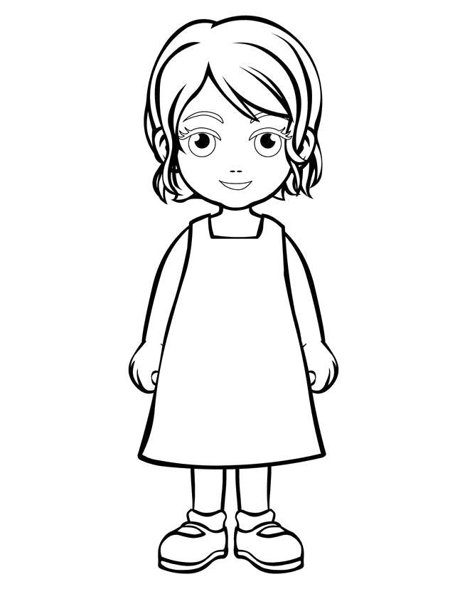 Раскраска девочка в платьеце. Скачать Девочка.  Распечатать Девочка