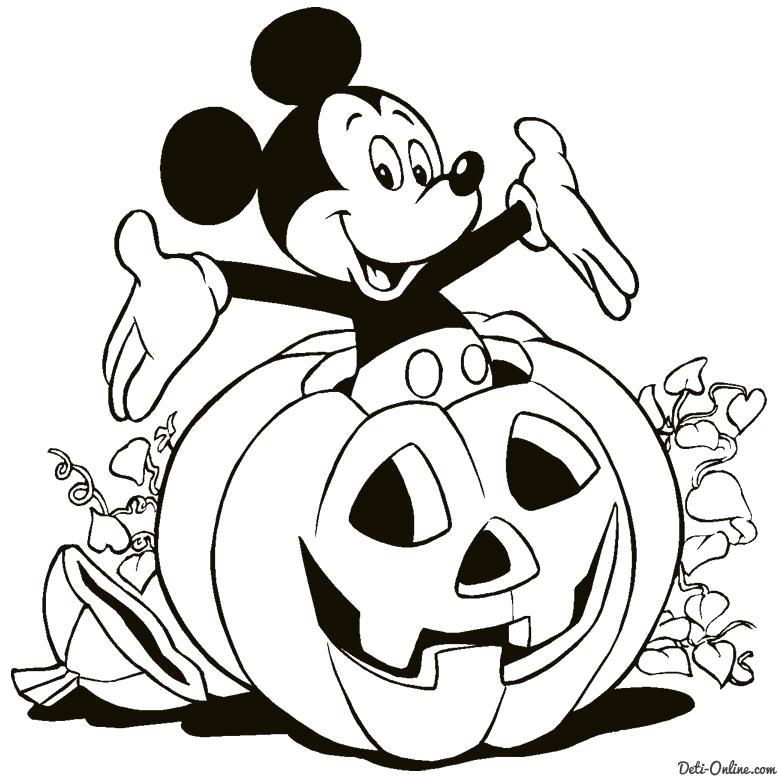 Раскраска  Микки Маус в тыкве. Скачать тыква на хэллоуин.  Распечатать Хэллоуин