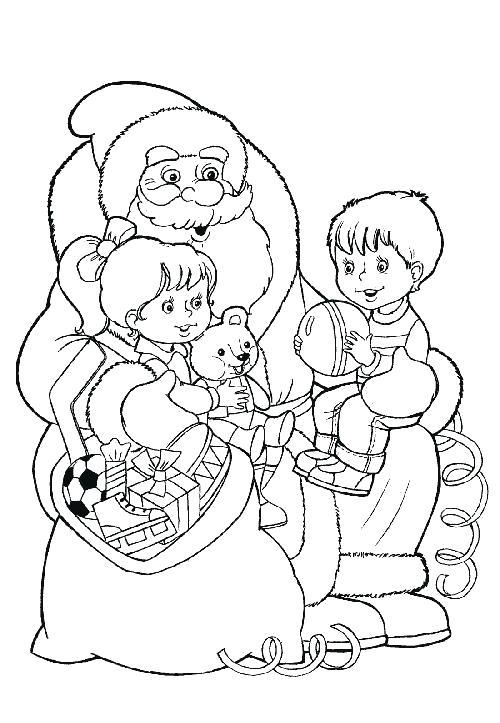 Раскраска дед мороз принес детям подарки. Скачать дед мороз с детьми.  Распечатать Дед мороз