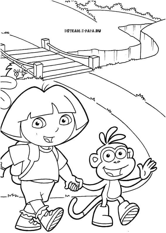 Раскраска Новое путешествие  Даша следопыт, пройти через мост. Скачать Даша следопыт.  Распечатать Даша следопыт