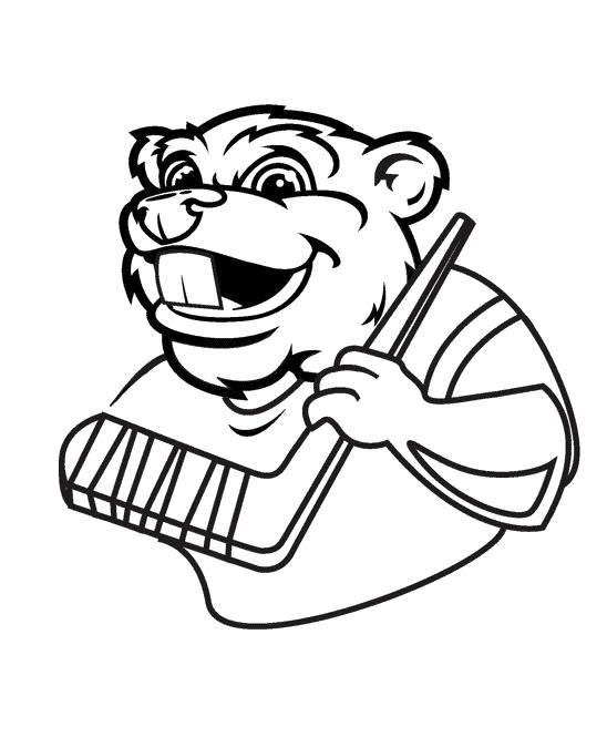 Раскраска Бобёр хоккеист. Скачать .  Распечатать