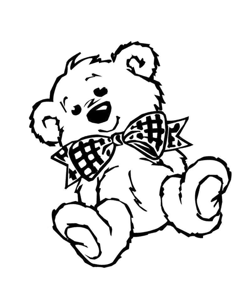 Раскраска Мишка с бантиком. Скачать Тедди.  Распечатать Тедди