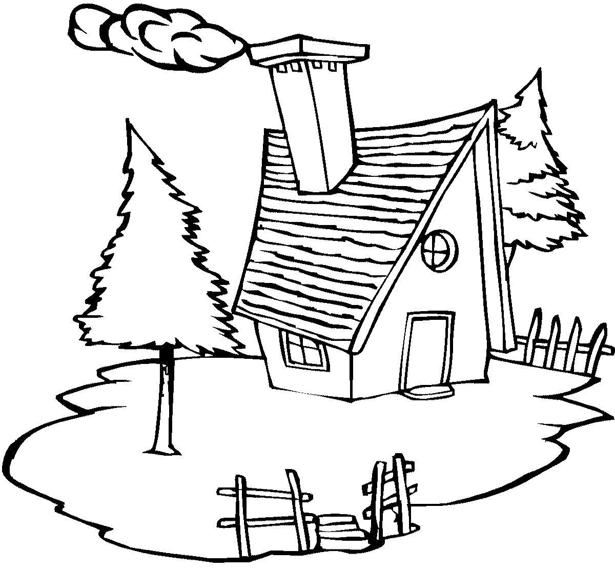 Раскраска  - зимние картинки - домик. Скачать Дом.  Распечатать Дом