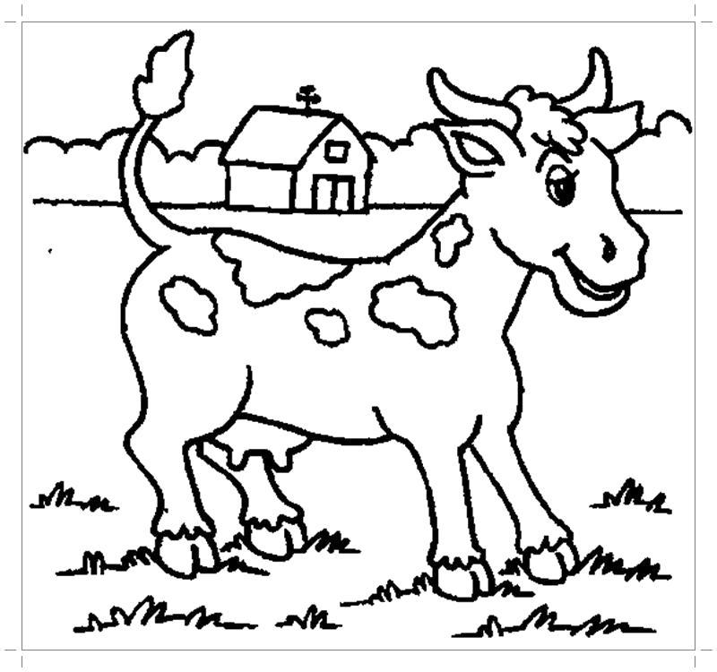 Раскраска Картинка корова для детей . Скачать Корова.  Распечатать Домашние животные
