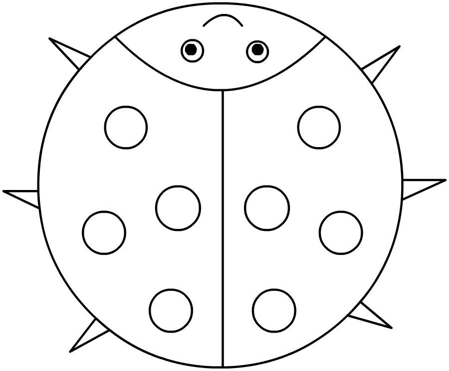 Раскраска картинка для детей. Божья коровка. Скачать Божья коровка.  Распечатать Божья коровка