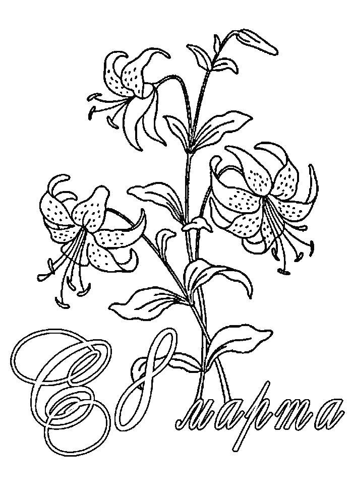 Раскраска  с 8 марта с цветами. Скачать 8 марта.  Распечатать 8 марта