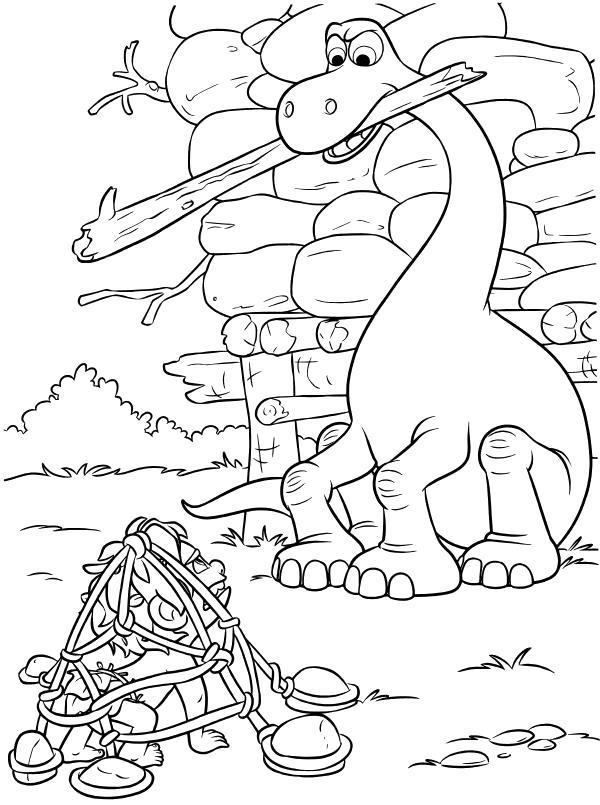 Раскраска  - Хороший динозавр - Дружок попался в ловушку. Скачать динозавр.  Распечатать динозавр