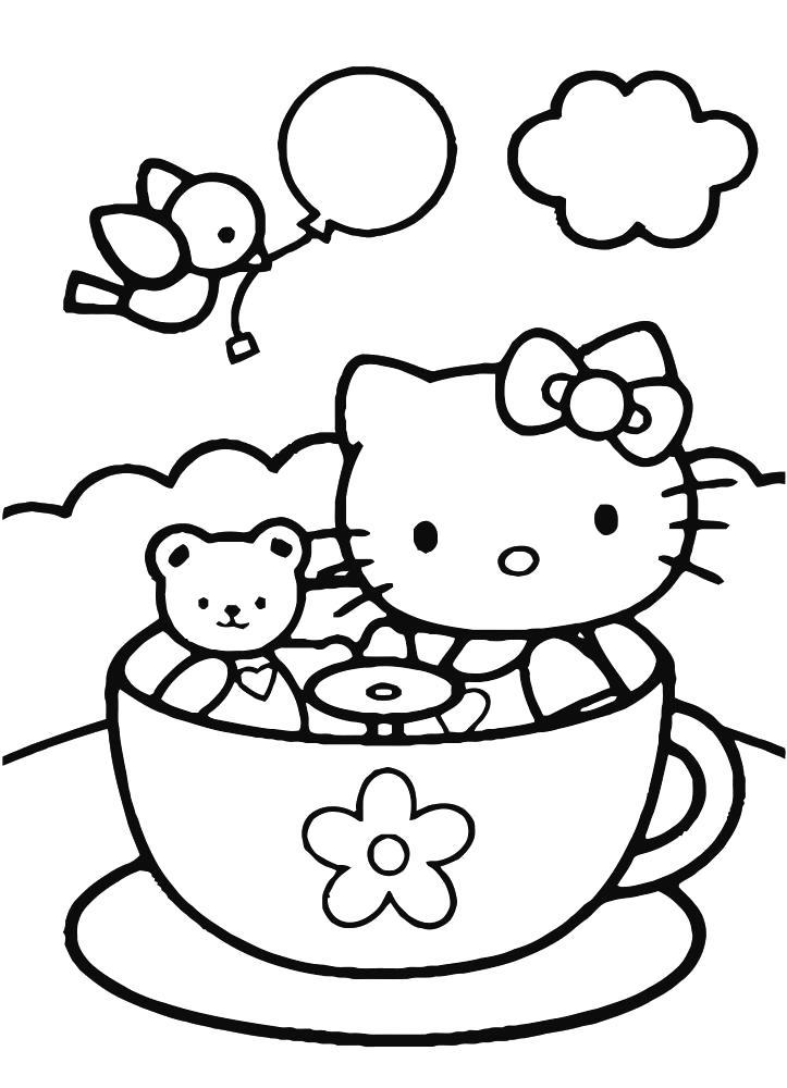 Раскраска Китти в чашечке. Скачать чашка.  Распечатать чашка