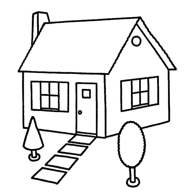 Раскраска двор, прихожая, красивый дом, . Скачать Дом.  Распечатать Дом