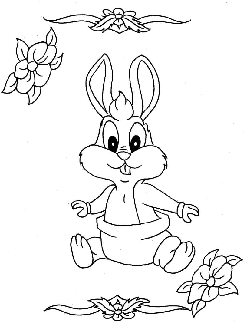 Раскраска  Заяц с цветочками. Скачать .  Распечатать Дикие животные