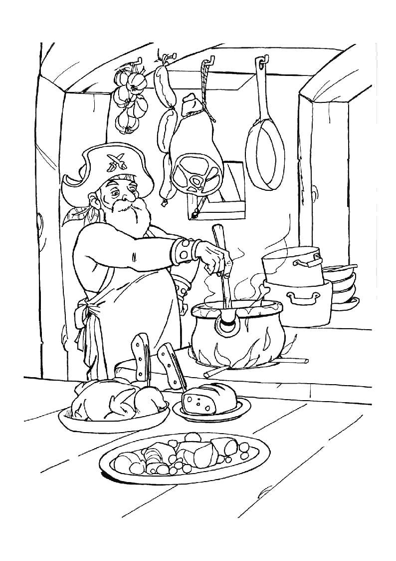 Раскраска Кок готовит еду. Скачать Пират.  Распечатать Пират