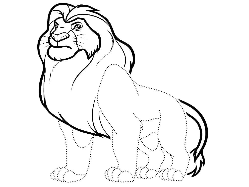 Раскраска Обвести по точкам рисунки с Королем Львом и раскрасить их. Скачать по точкам.  Распечатать по точкам
