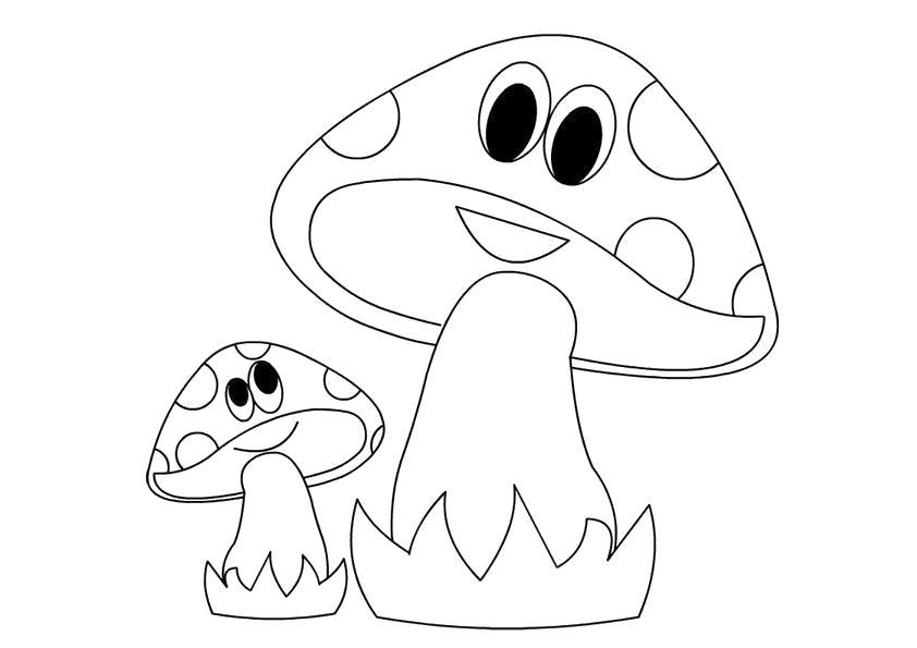 Раскраска  шаблон гриба веселые грибы, простые шаблоны для детей. Скачать гриб.  Распечатать растения