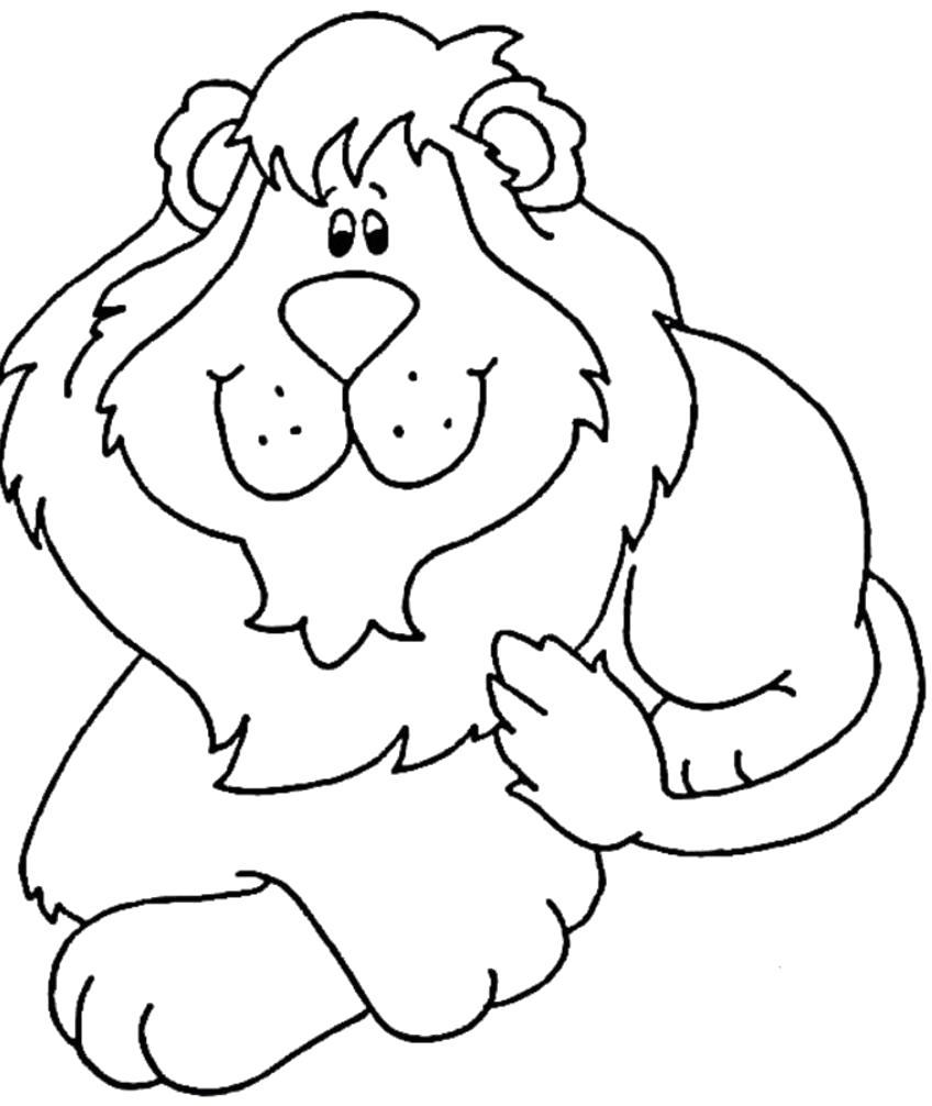 Раскраска Красивый львенок лежит. Скачать .  Распечатать Дикие животные
