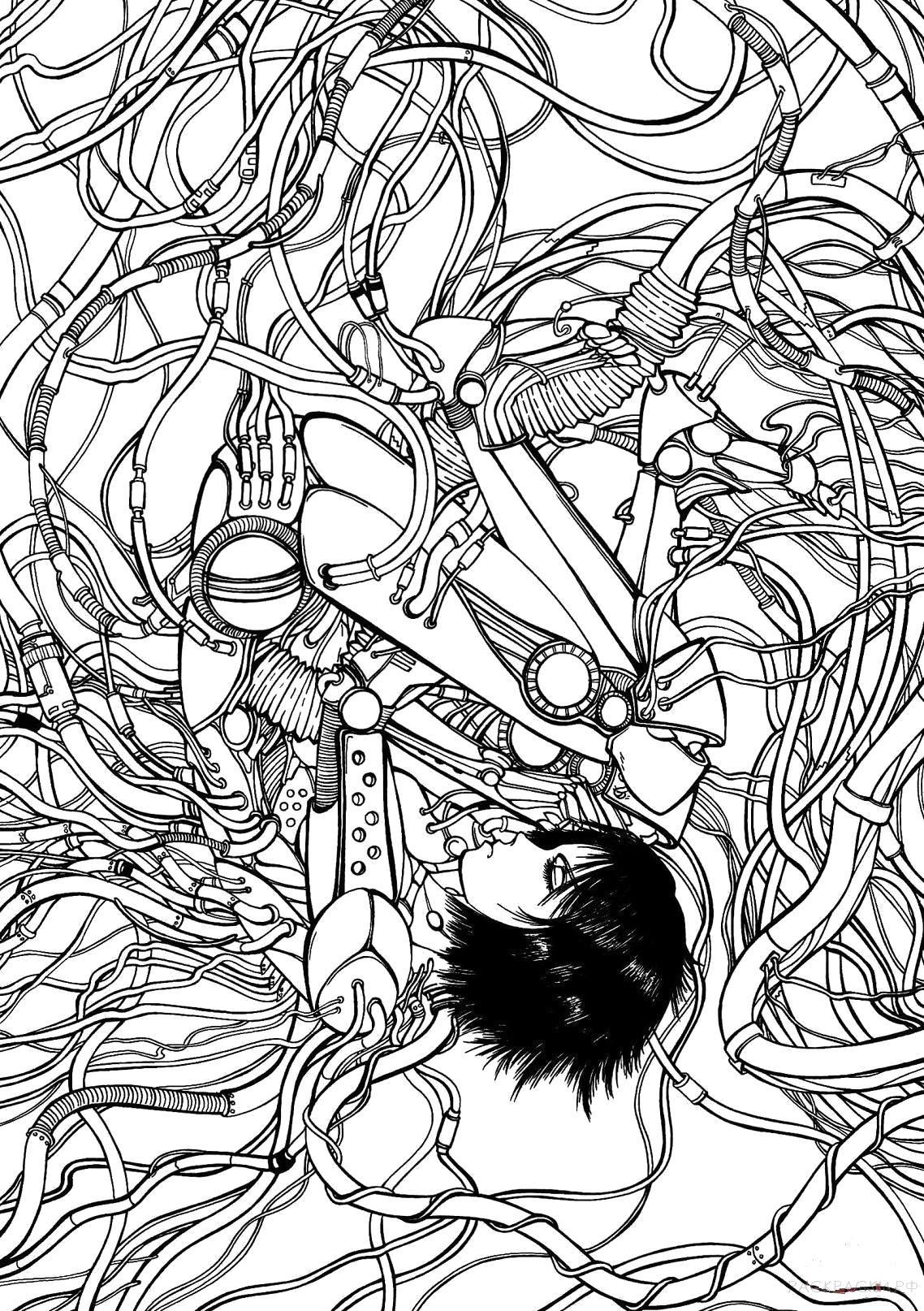 Раскраска  Гали из аниме Боевой ангел. Скачать .  Распечатать