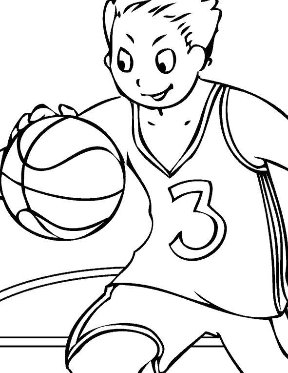 Раскраска мальчик с баскетбольным мячом. Скачать Баскетбол.  Распечатать Баскетбол
