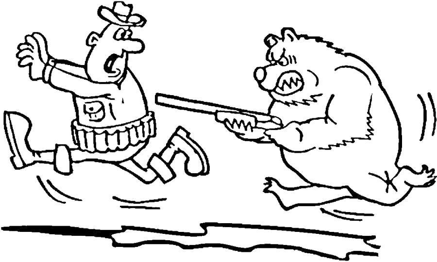 Раскраска Медведь напал на охотника. Скачать .  Распечатать