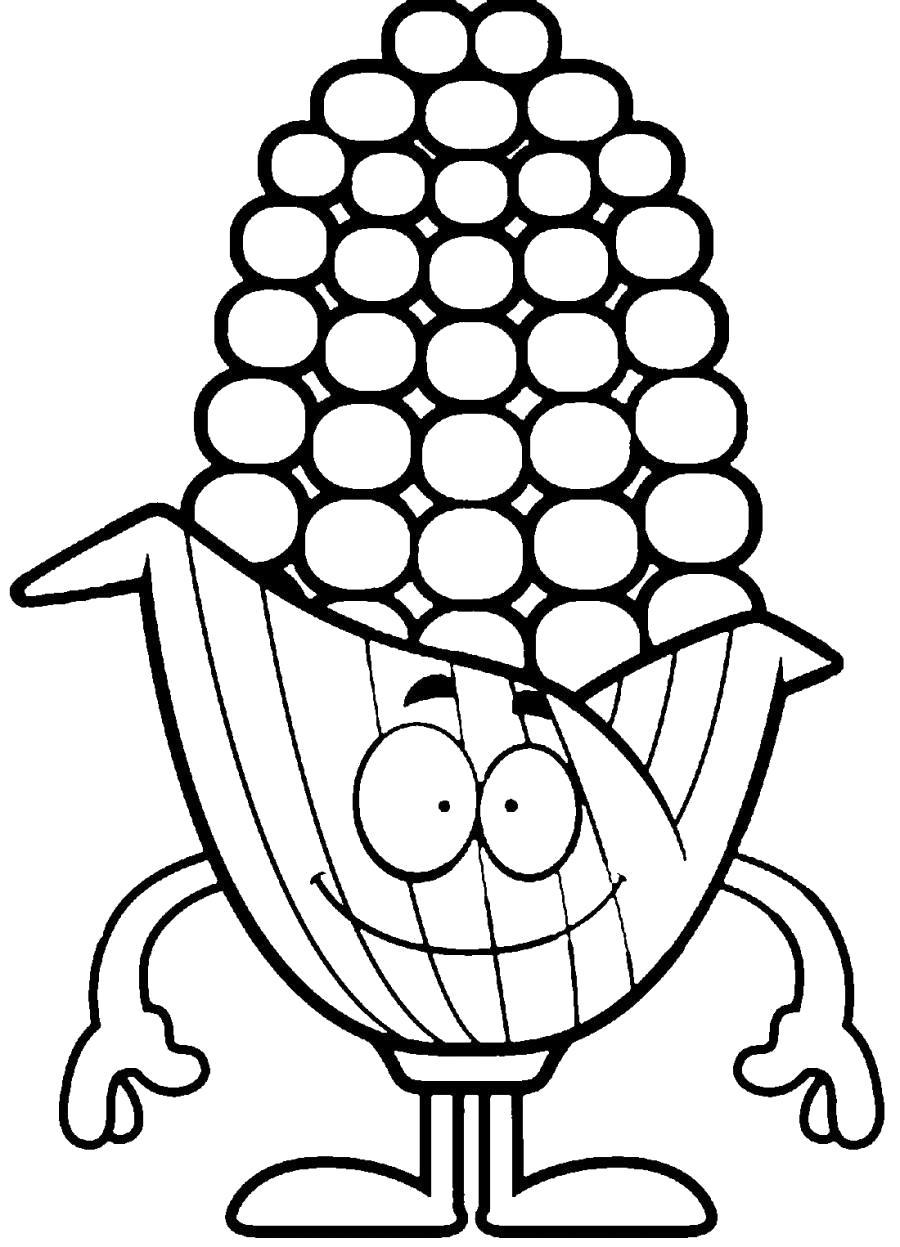 Раскраска Смешная кукуруза . Скачать кукуруза.  Распечатать овощи