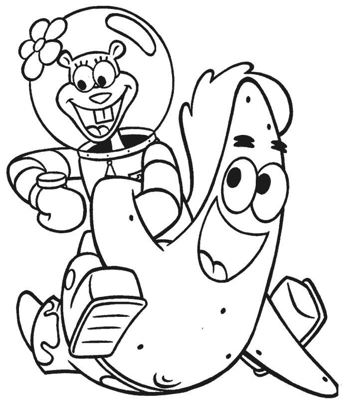 Раскраска Сенди и Патрик. Скачать Патрик.  Распечатать Патрик