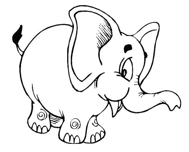 Раскраска Веселый слоник. Скачать слон.  Распечатать Дикие животные