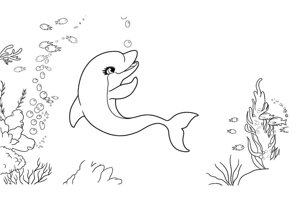 Раскраска  дельфин для малышей, дельфин купается в океане. Скачать Дельфин.  Распечатать Дельфин