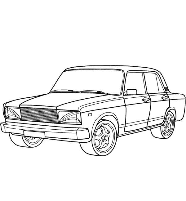 Раскраска Раскрасить онлайн ВАЗ 2107. Скачать машины.  Распечатать машины