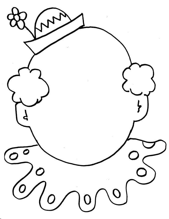 Раскраска Нарисуй Лицо Клоуна. Скачать клоун.  Распечатать клоун
