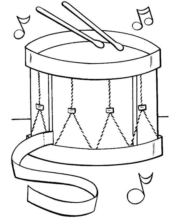 Раскраска нотки и барабан. Скачать Барабан.  Распечатать Барабан