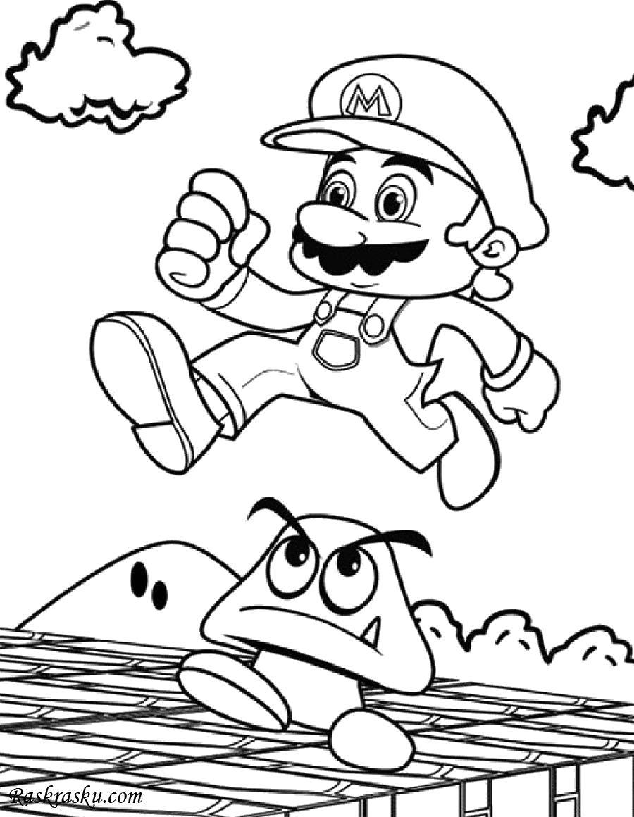 Раскраска Бегущий Марио. Скачать Марио.  Распечатать Марио