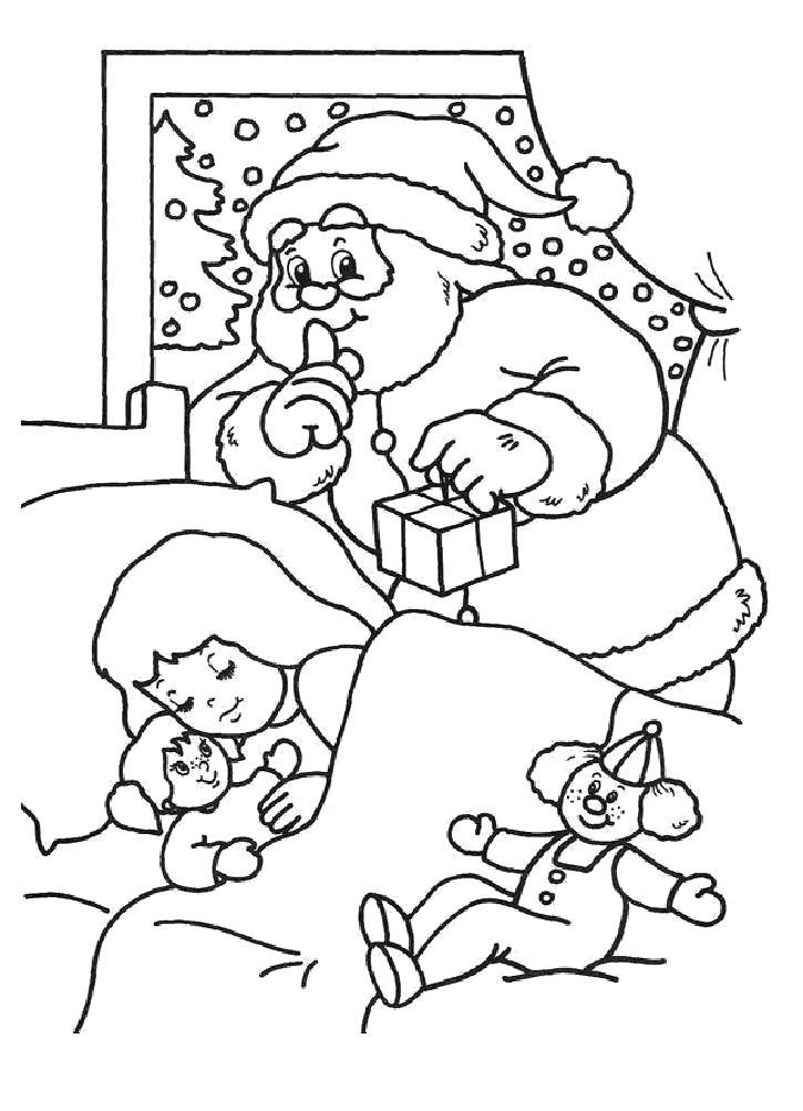 Раскраска Санта Клаус несет подарки. Скачать новогодние.  Распечатать новогодние