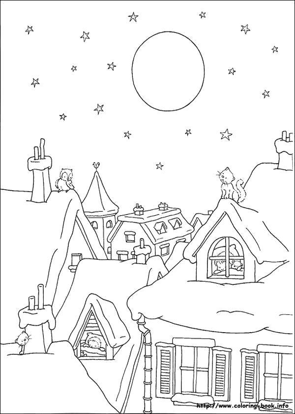 Раскраска Рождественское утро. Скачать Рождество.  Распечатать Рождество