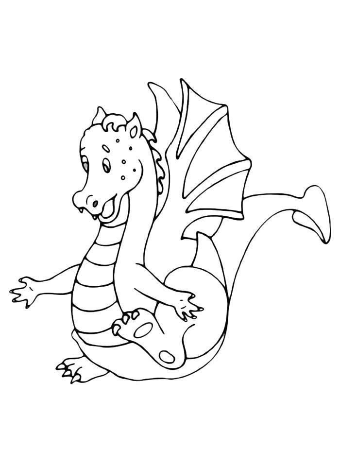 Раскраска  Дракон в недоумении. Скачать дракон.  Распечатать дракон