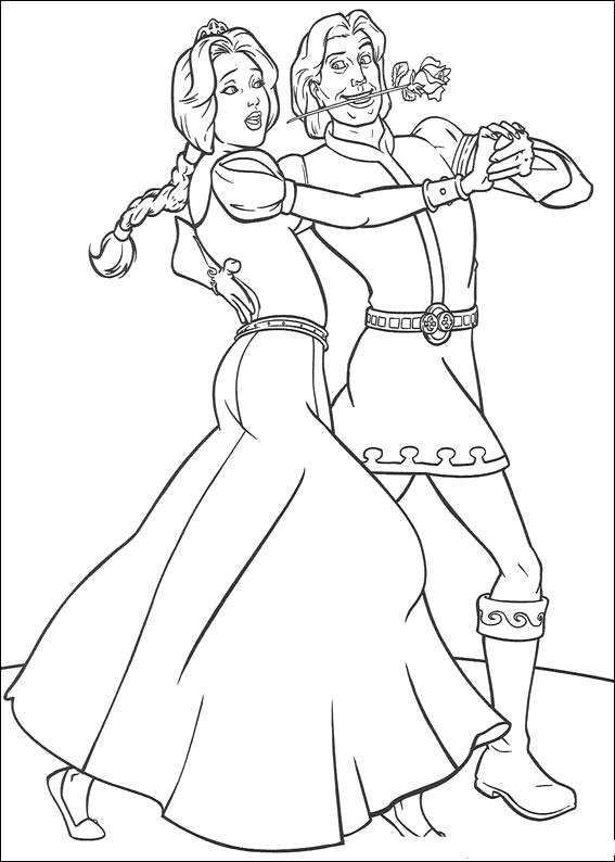 Раскраска Принц танцует с принцессой. Скачать шрек.  Распечатать шрек