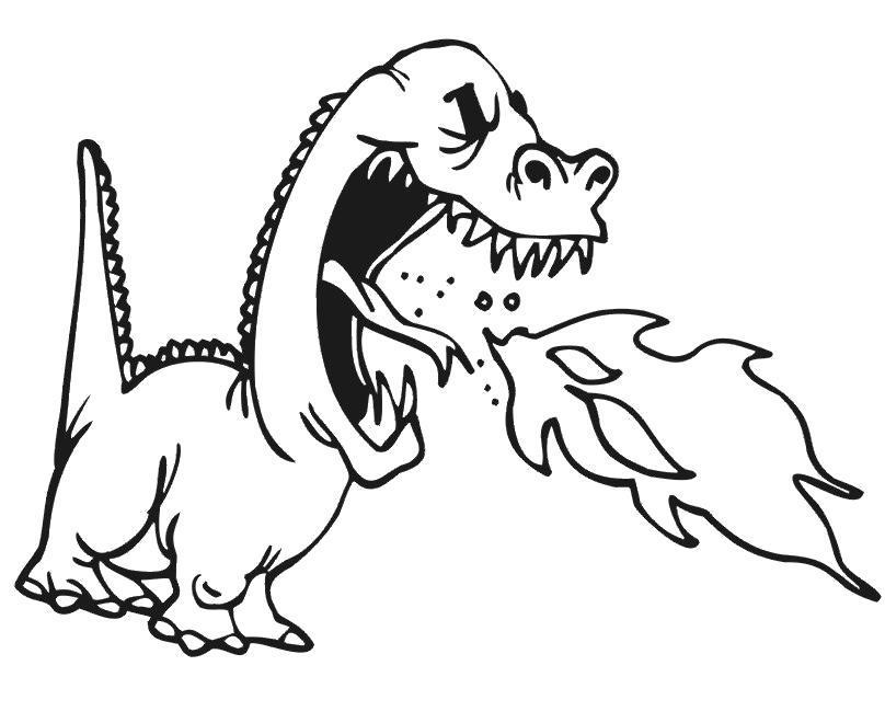 Раскраска Огонь дракона. Скачать .  Распечатать