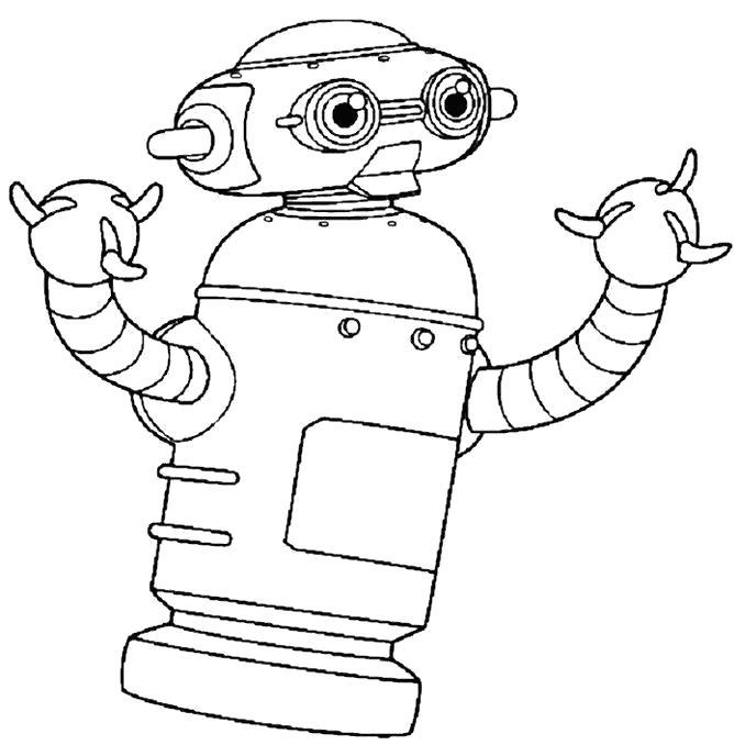 Раскраска  робот малыш. Скачать Робот.  Распечатать Робот