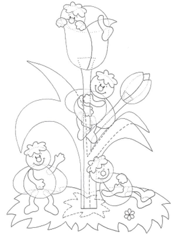 Раскраска шаблон цветочек и насекомые. Скачать Шаблон.  Распечатать Шаблон
