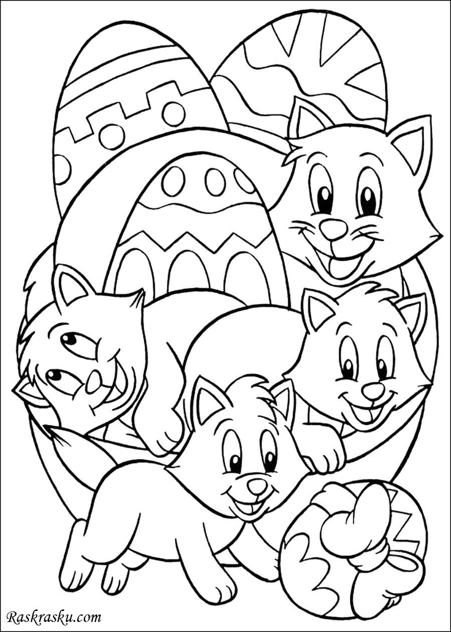 Раскраска Котята с пасхальными яйцами. Скачать Котенок.  Распечатать Домашние животные