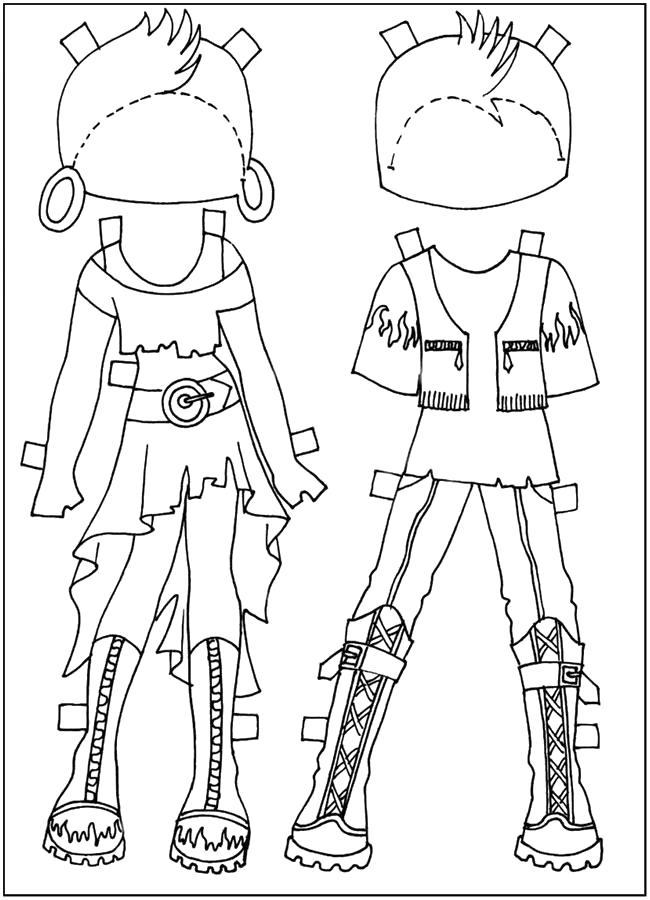 Раскраска  Раскрасить одежду вырежи и одень куклу . Скачать одень куклу.  Распечатать одень куклу