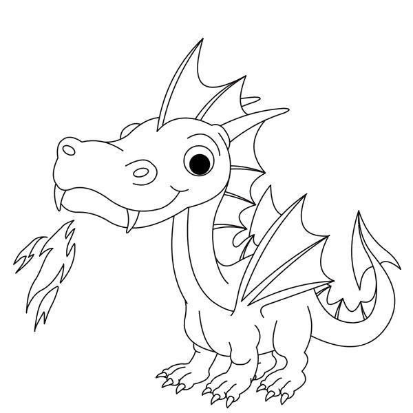 Раскраска Сказочный дракон является одним из самых любимых персонажей многих мальчиков. Девочки также будут не против раскрасить такого зверя.. Скачать дракон.  Распечатать мифические существа