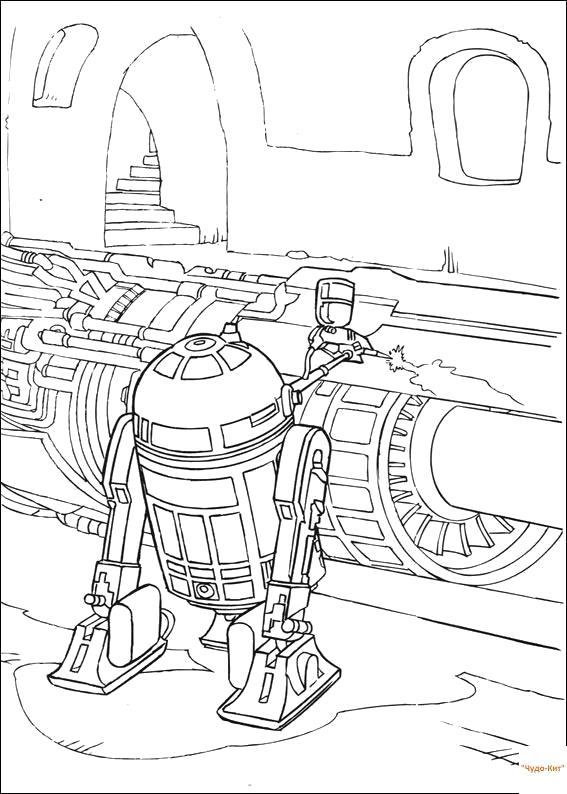 Раскраска R2D2. Скачать Звездные войны.  Распечатать Звездные войны