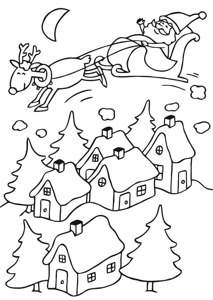 Раскраска санта клаус летит вручать подарки. Скачать Рождество.  Распечатать Рождество
