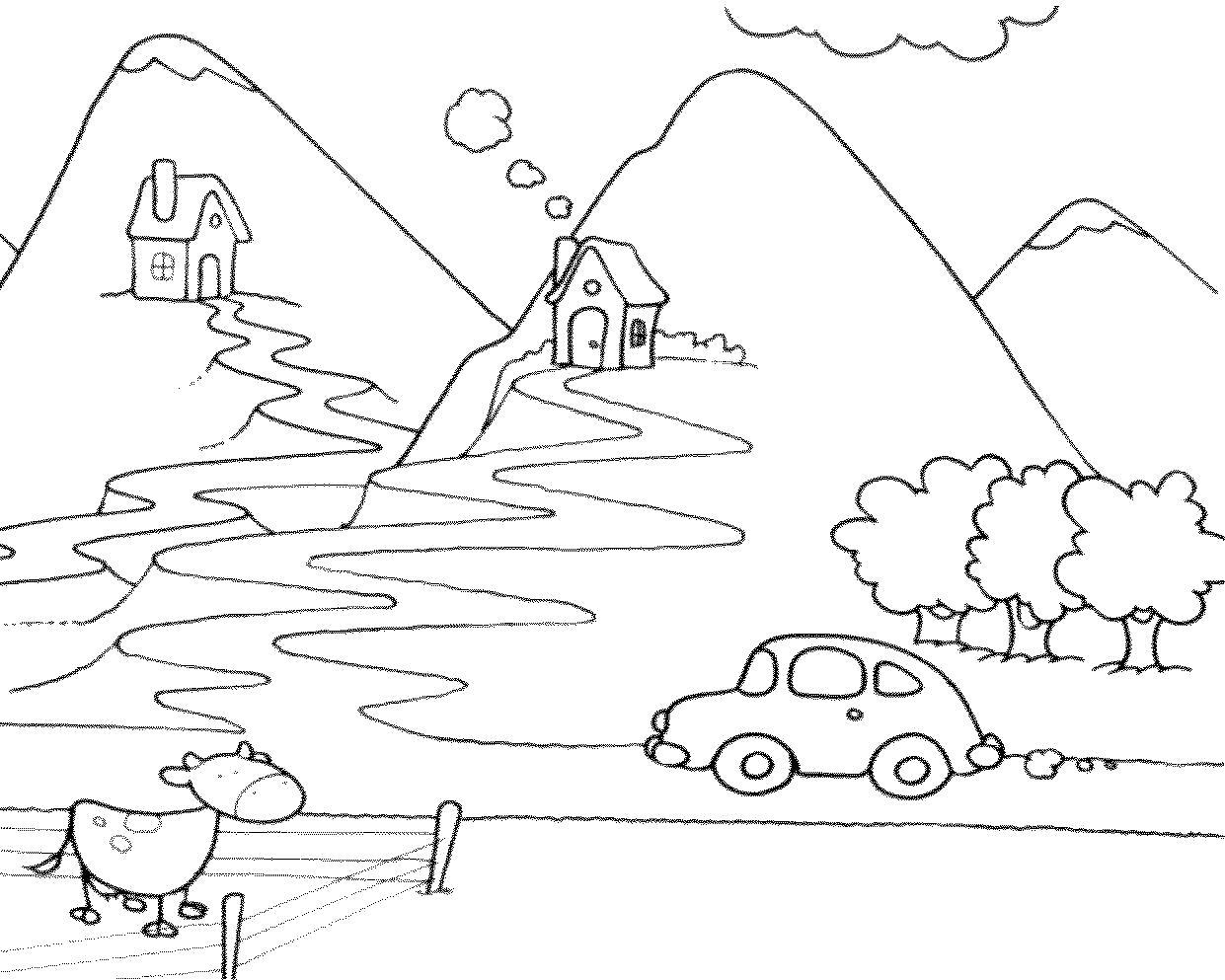 Раскраска Дачные домики в горах. Скачать природа.  Распечатать природа