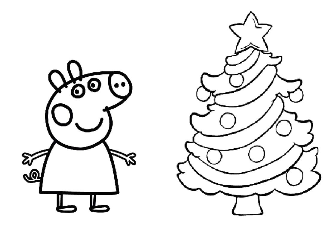 Раскраска Свинка Пеппа около новогодней елки. Скачать Пеппа.  Распечатать Пеппа