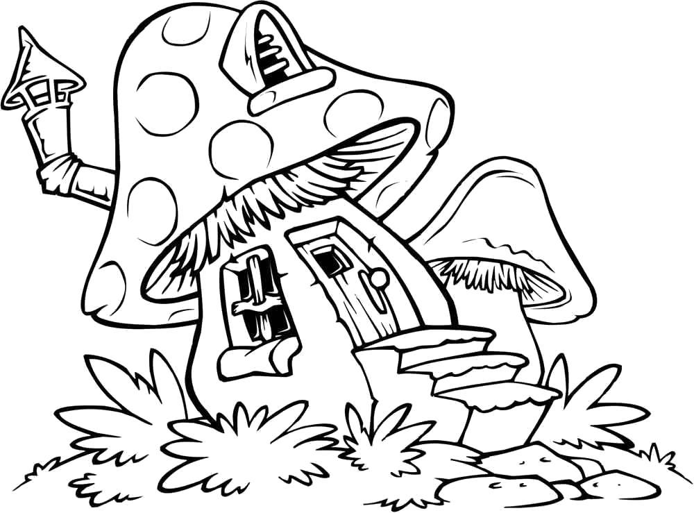 Раскраска дом из мухомора. Скачать гриб.  Распечатать гриб