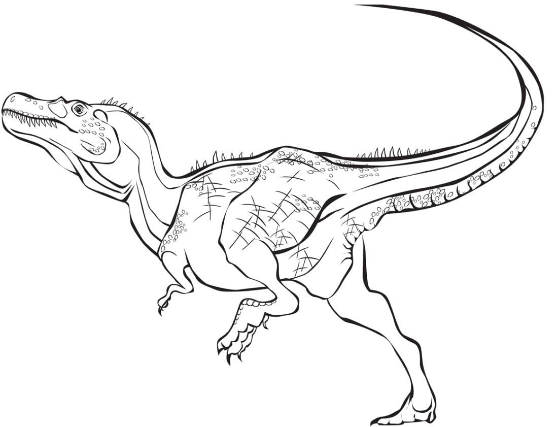 Раскраска  динозавр бежит. Скачать динозавр.  Распечатать динозавр