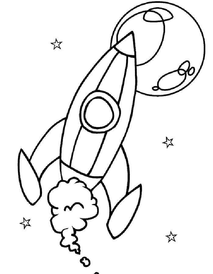 Раскраска Полёт ракеты. Скачать день космонавтики.  Распечатать день космонавтики
