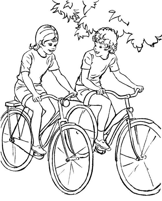 Раскраска ребята катаются на велосипеде. Скачать Велосипед.  Распечатать Велосипед