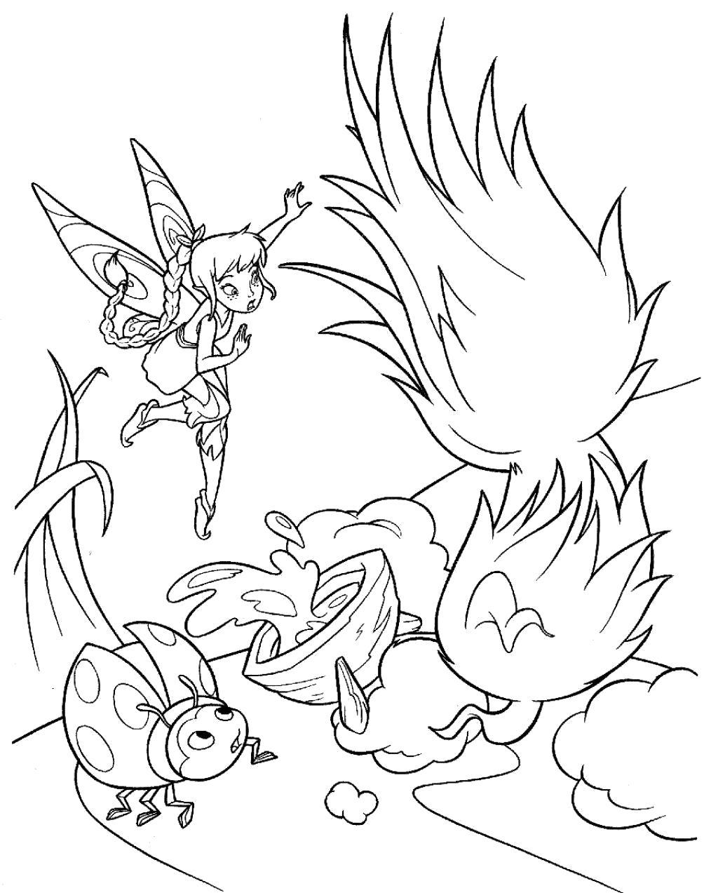 Раскраска Фея и божия коровка. Скачать фея.  Распечатать мифические существа