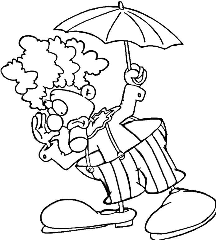 Раскраска клоун с зонтиком. Скачать клоун.  Распечатать клоун